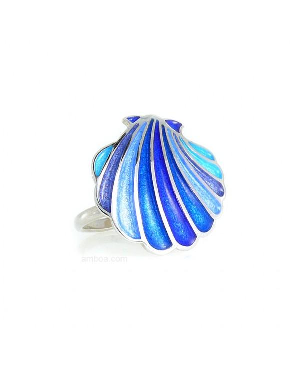 Anillo Concha Plata esmalte azul