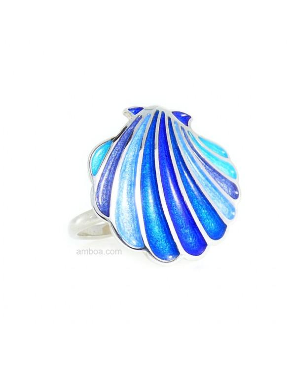 Anillo Concha Plata esmalte azul foto2