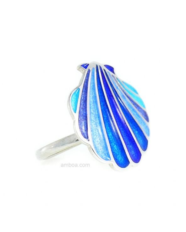 Anillo Concha Plata esmalte azul foto perfil