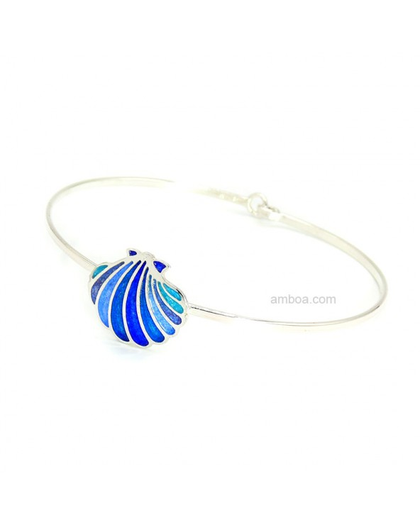 Pulsera Concha Plata Esmaltes Azul