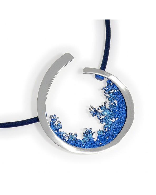 Amboa Colgante Ola Orfega grande Plata Pigmento Azul