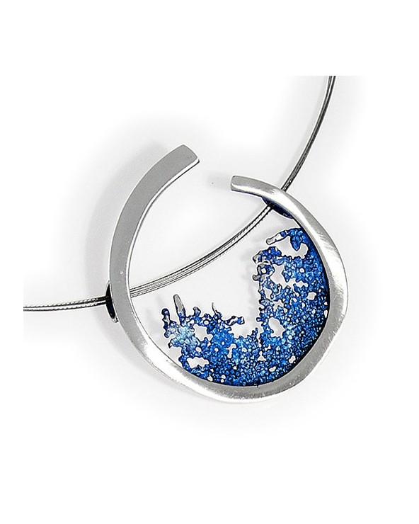 Amboa Colgante Ola Orfega pequeño Plata Pigmento Azul