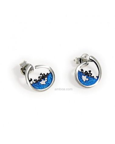 Pendientes Ola Orfega presión mini Plata Pigmento Amboa azul
