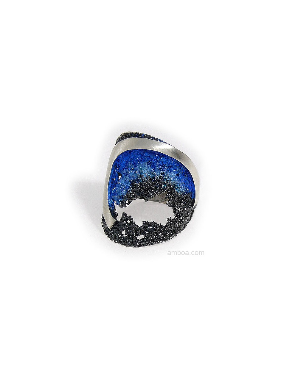 Anillo Ola Orfega Plata Pigmento Azul