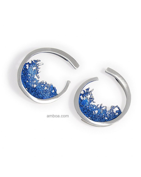 Amboa Pendientes Ola Orfega gancho grandes Plata Pigmento azul