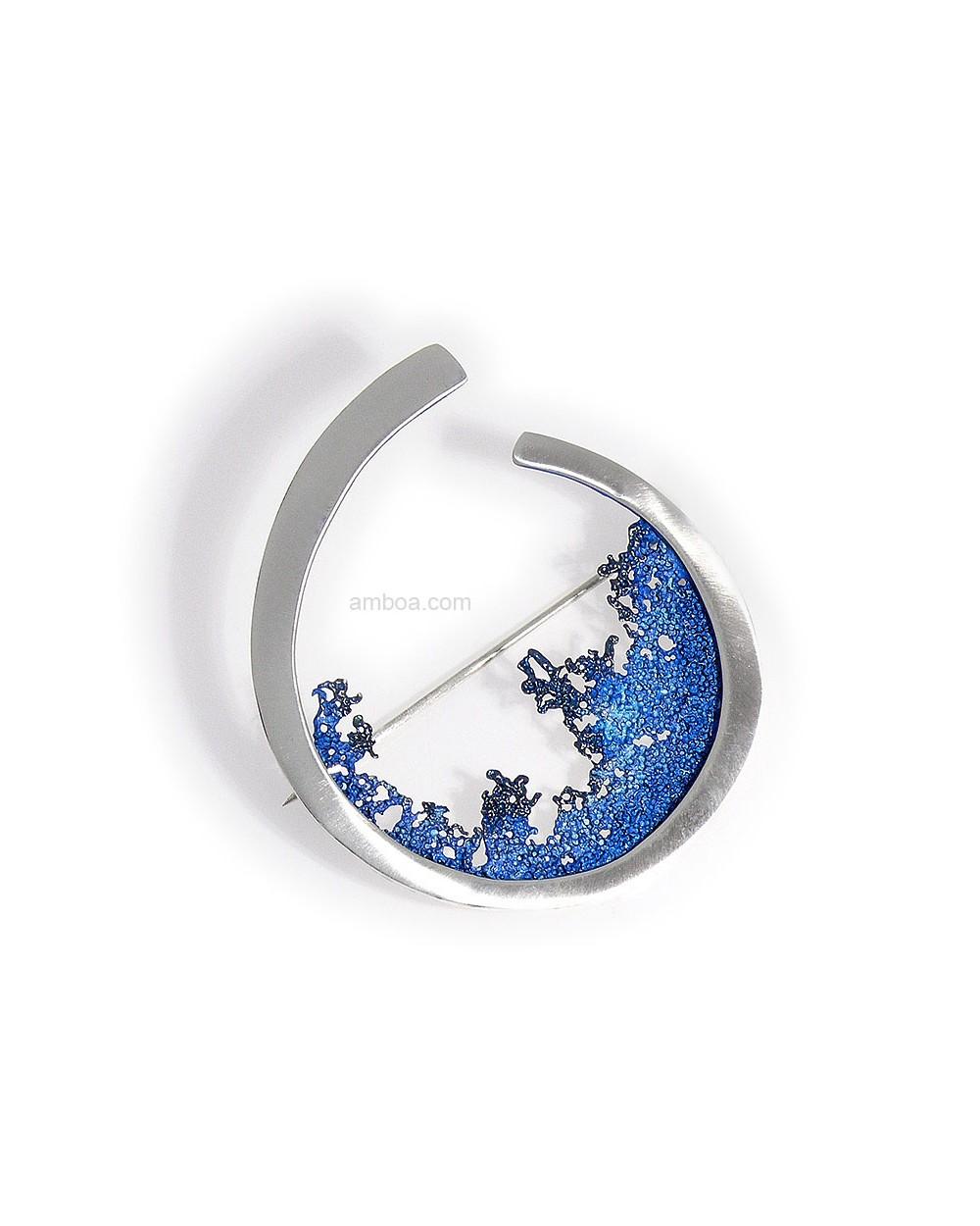 Amboa Broche Ola Orfega Plata Pigmento azul