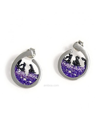 Amboa Pendientes Ola Orfega presion pequeños Plata Pigmento violeta