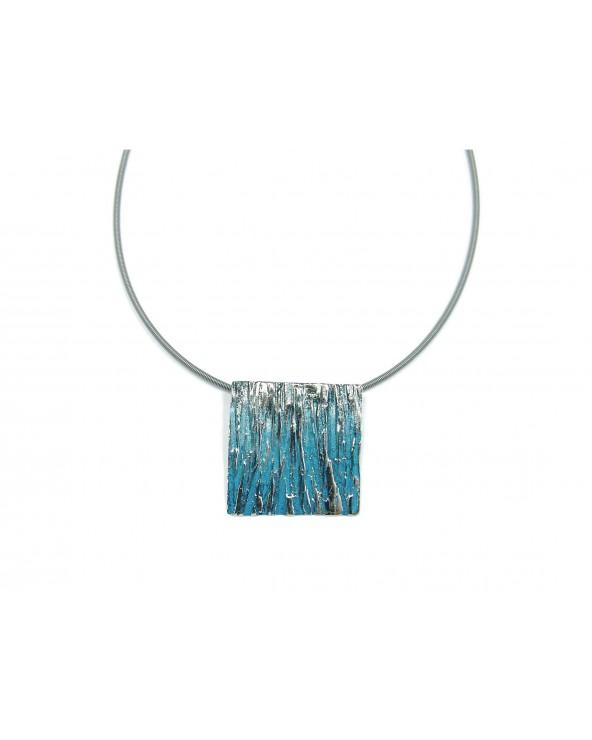Colgante bosque grande orfega plata pigmentos azul