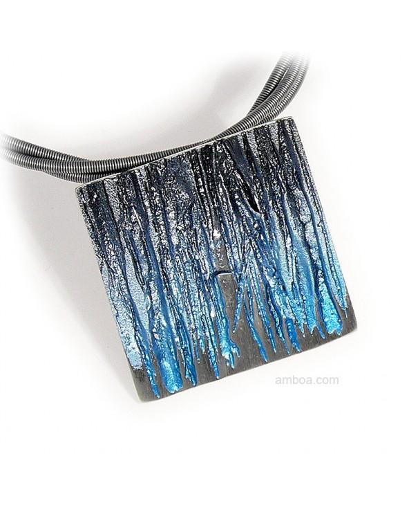 Colgante Bosque pequeño orfega plata pigmentos azul