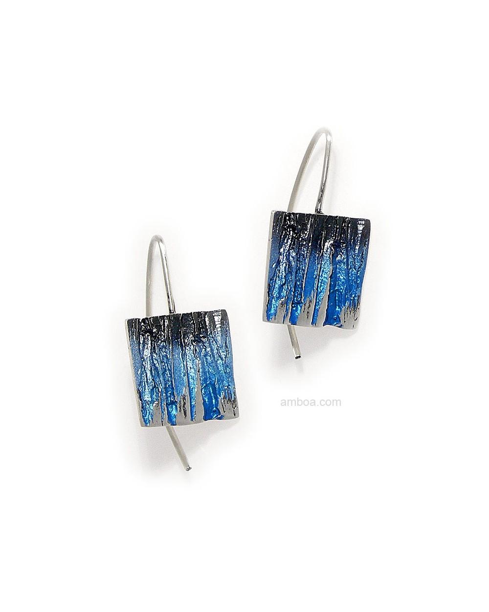 Pendientes Bosque Orfega Plata pigmentos gancho azul
