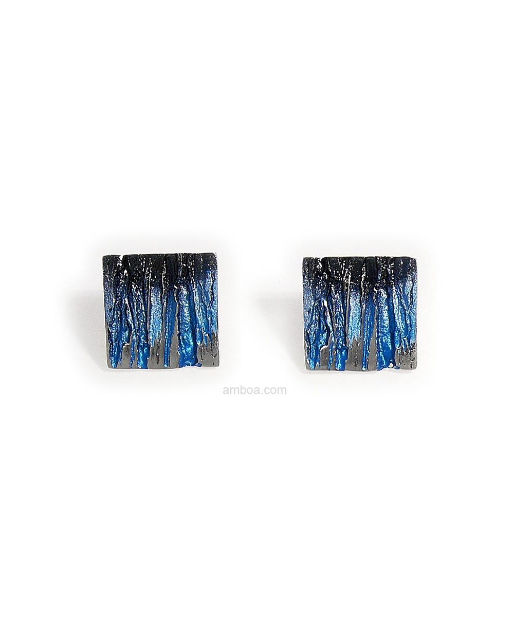 Pendientes medianos bosque orfega plata pigmentos azul