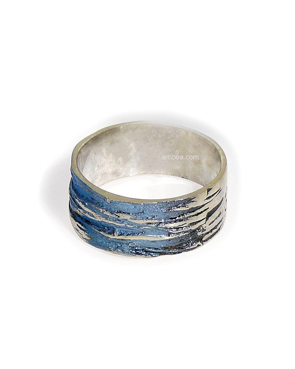 Anillo bosque orfega plata simeltech azul