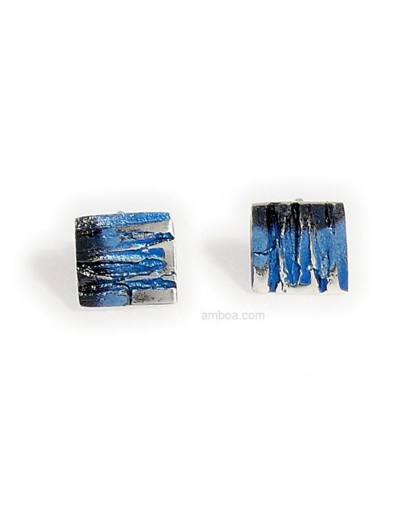 Pendientes pequeños bosque orfega plata pigmentos azul
