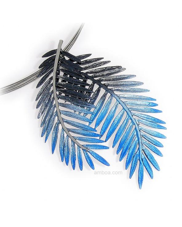 Colgante Male grande orfega plata simeltech azul