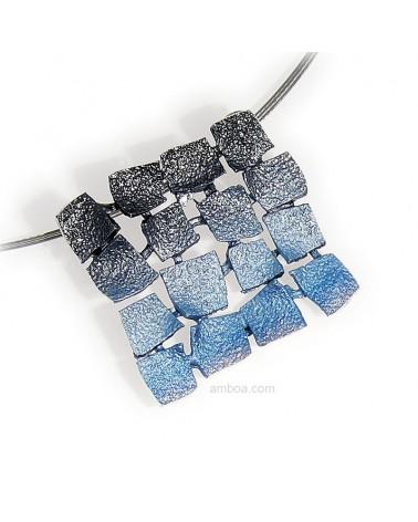 colgante mosaico pequeño orfega plata azul