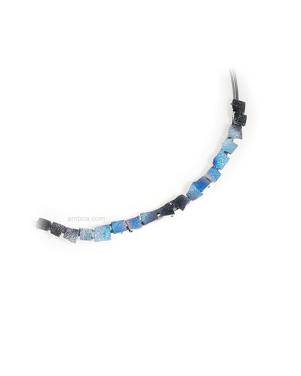 gargantilla mosaico orfega plata azul