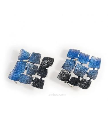 Pendientes Mosaico gancho medianos orfega plata azul