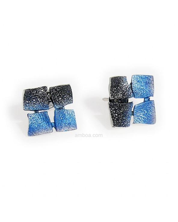 Pendientes Mosaico presión pequeños orfega plata azul