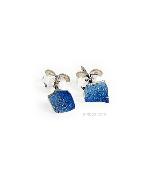 Pendientes Mosaico presion mini orfega plata azul