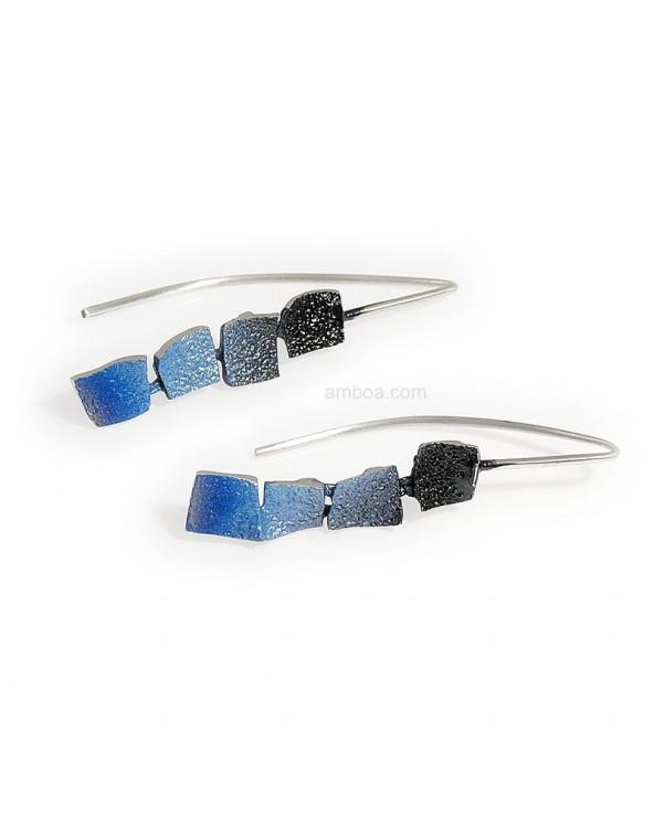 Pendientes Mosaico gancho grandes orfega plata azul