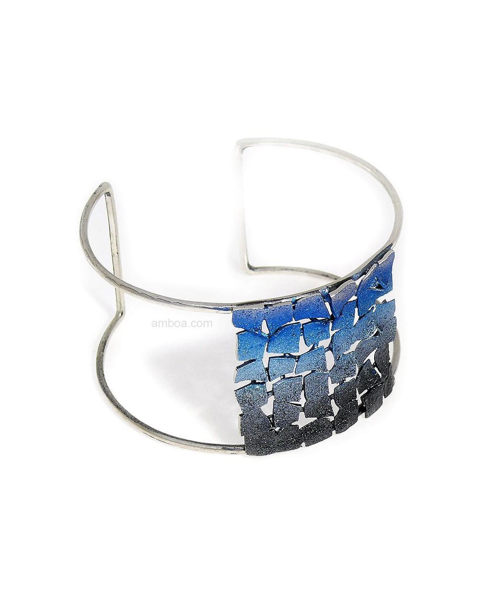 Brazalete Mosaico orfega plata azul