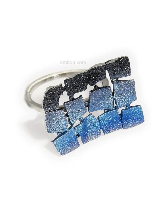 Anillo Mosaico orfega plata azul