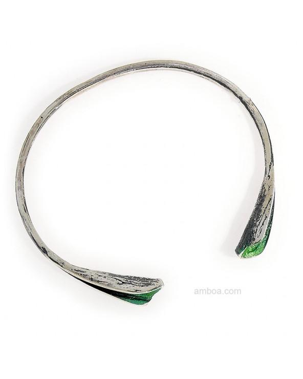 Brazalete Ariel presion orfega plata verde