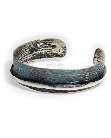 Brazalete Ariel orfega plata azul