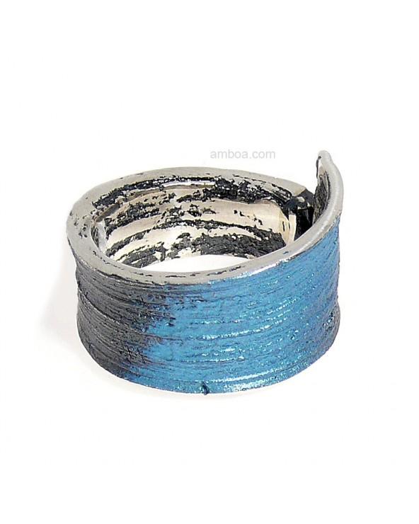 Anillo Ariel orfega plata azul
