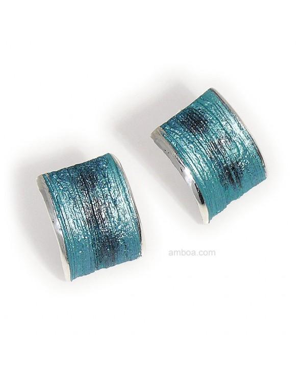 Pendientes Ariel presion grandes orfega plata azul