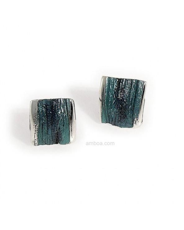 Pendientes Ariel presion pequeños orfega plata azul