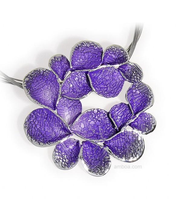 Colgante Petalos grande orfega plata violeta