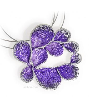 Colgante Petalos mediano orfega plata violeta