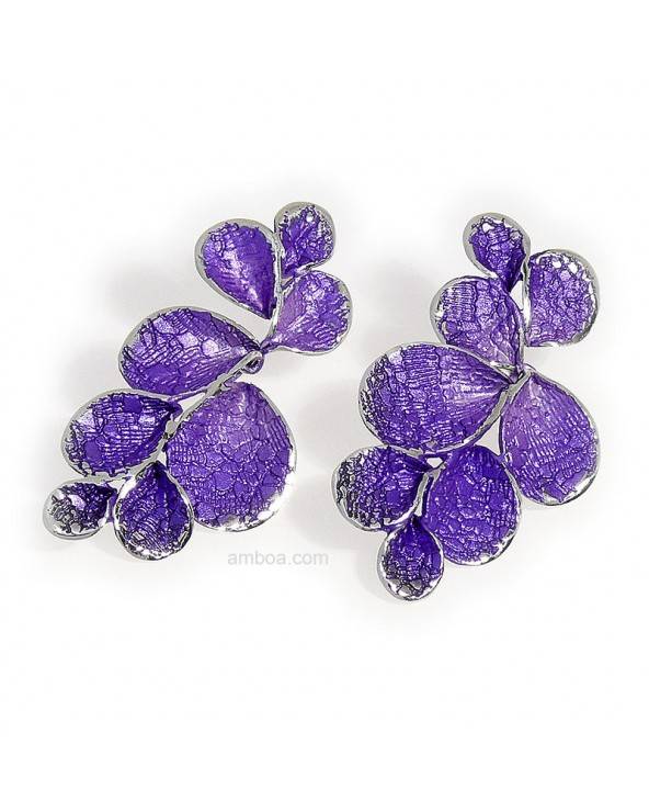 Pendientes Petalos presion colgar grandes orfega plata violeta
