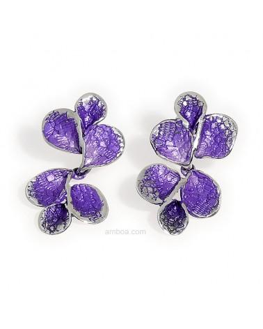 Pendientes Petalos presion colgar pequeños orfega plata violeta