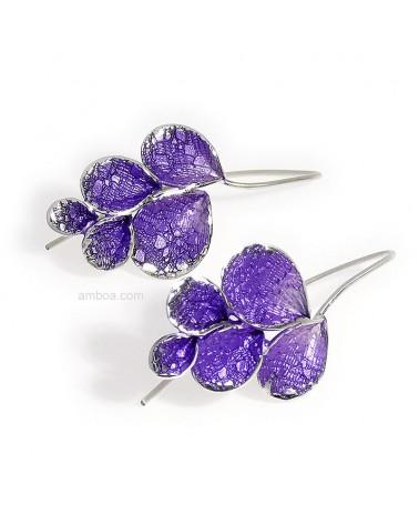 Pendientes Petalos gancho grandes orfega plata violeta