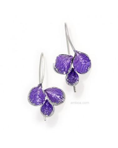 Pendientes Petalos gancho pequeños orfega plata violeta