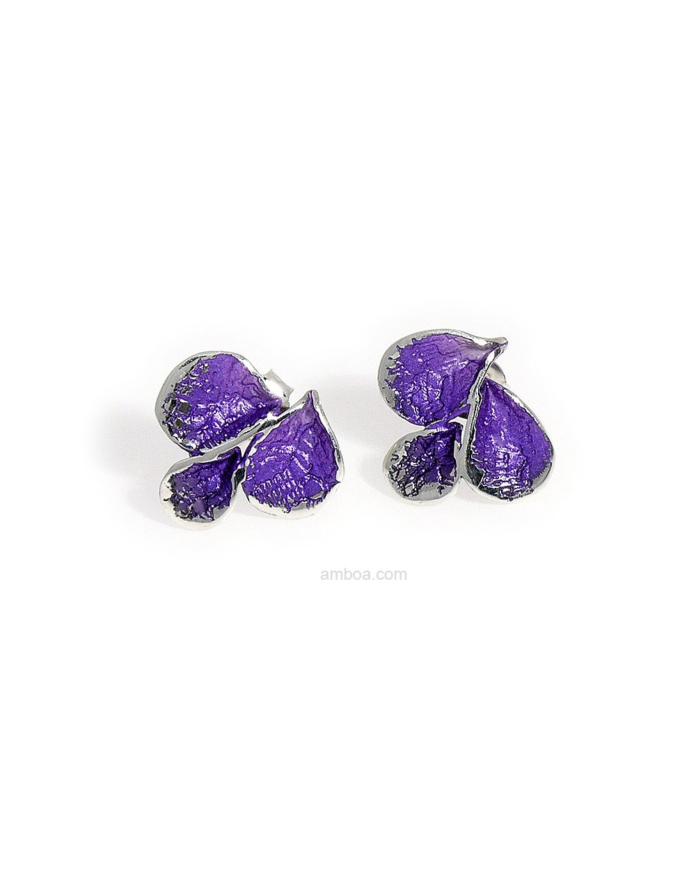 Pendientes Petalos presion pequeños orfega plata violeta