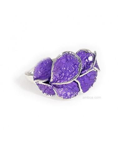 Anillo Petalos orfega plata violeta