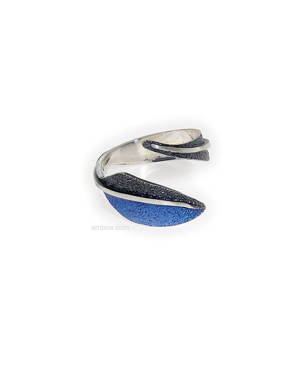 Anillo Pluma orfega plata azul