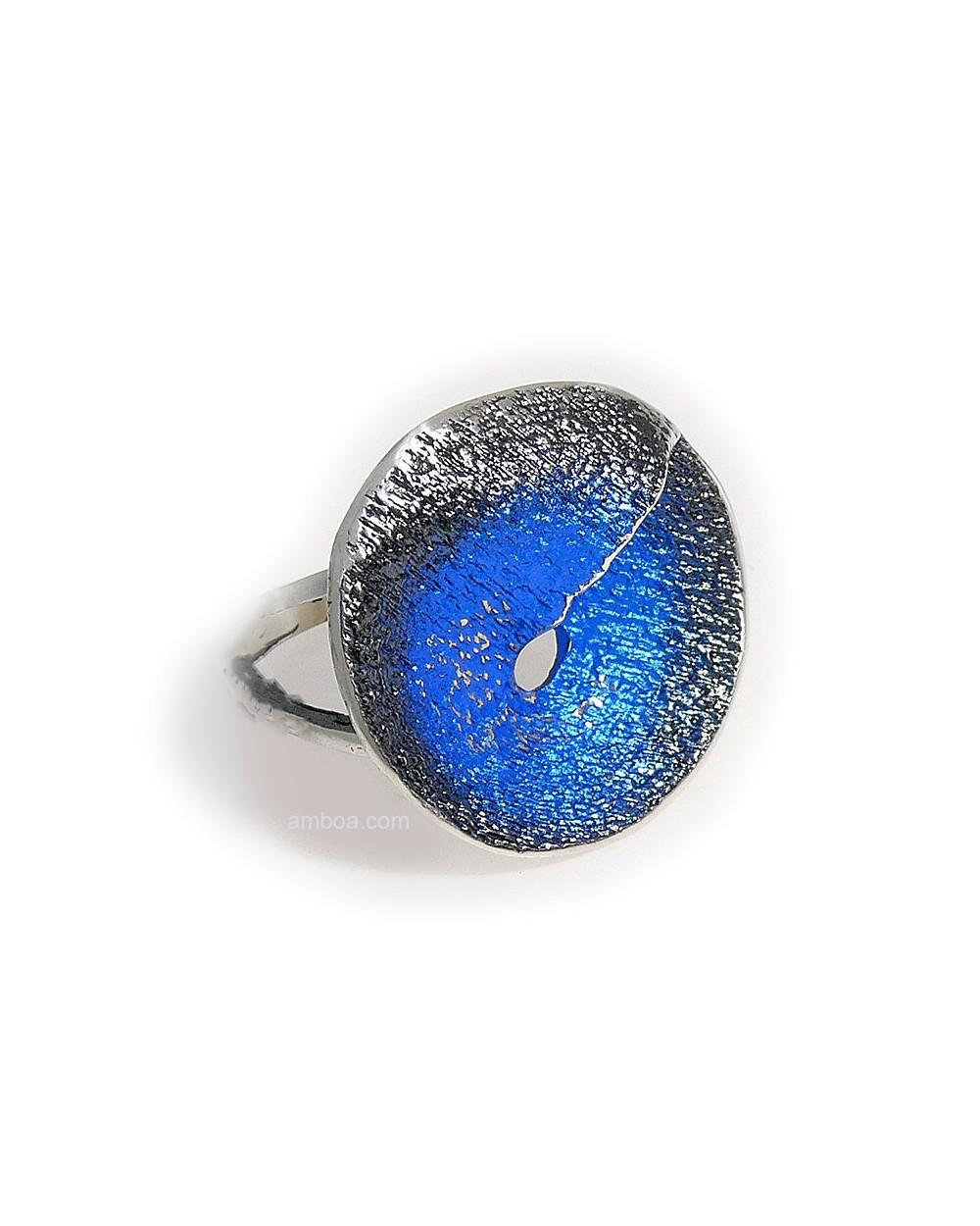 anillo karen orfega plata azul