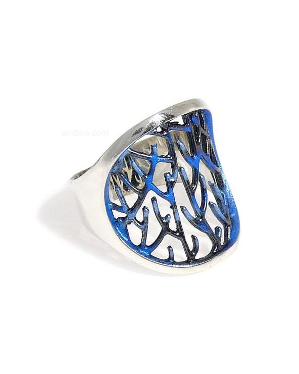 Anillo Ramas orfega plata azul