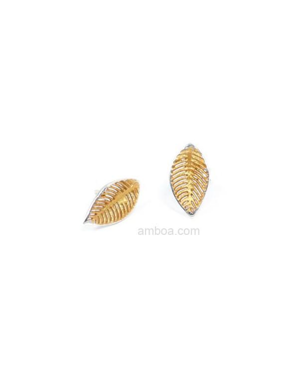 Pendientes Camila presión pequeño orfega plata oro ambar