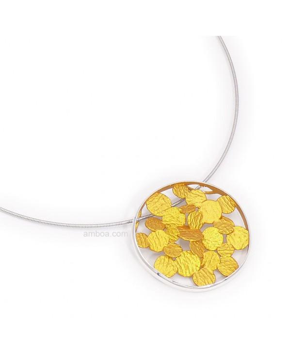 Colgante Sisma mediano orfega plata oro claro