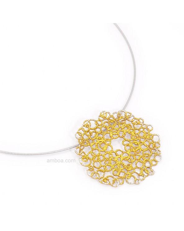 Colgante Cosmo mediano orfega plata oro claro